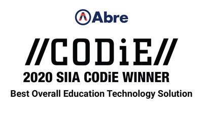 Abre selected as Best Overall Education Technology Solution at 2020 CODiE Awards.