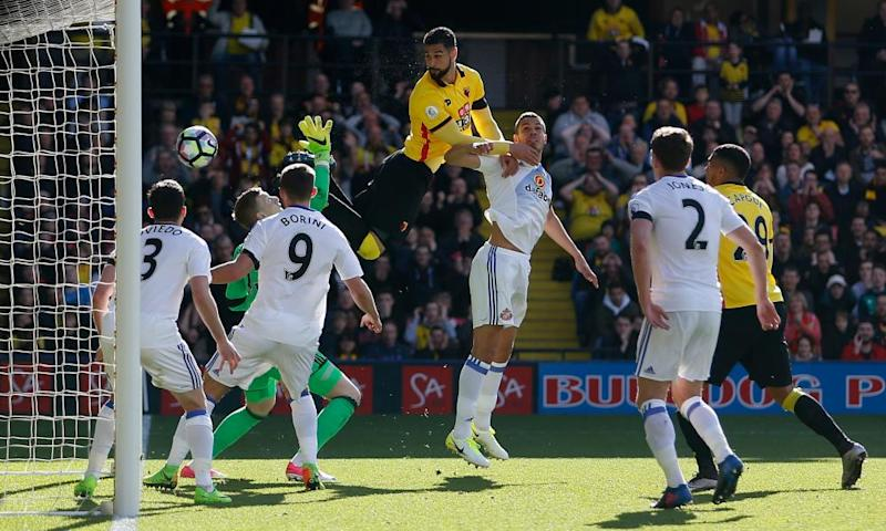 Watford's Miguel Britos scores the winning goal against Sunderland at Vicarage Road.