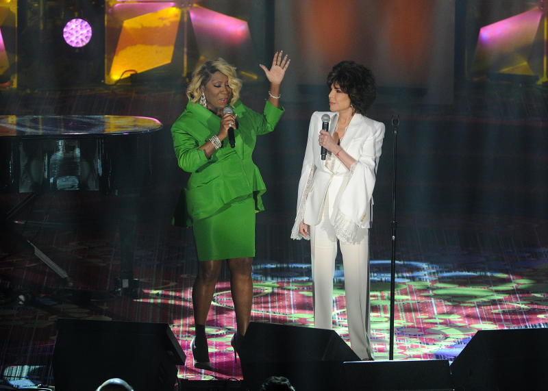 Patti LaBelle, left, and Carole Bayer Sager perform on stage at the 50th annual Songwriters Hall of Fame induction and awards ceremony at the New York Marriott Marquis Hotel on Thursday, June 13, 2019, in New York. (Photo by Brad Barket/Invision/AP)