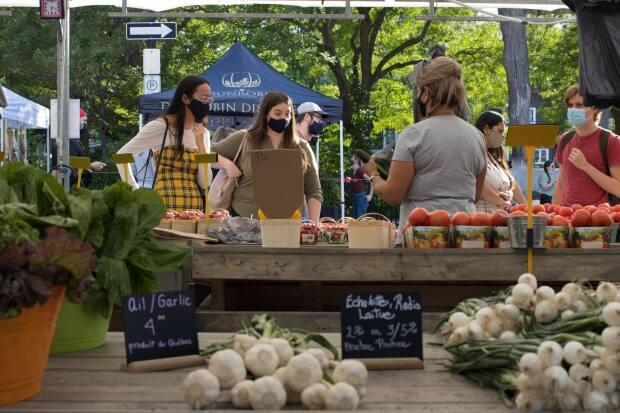 Customers buy produce from a vendor at the Parkdale Night Market in Ottawa. (Trevor Pritchard/CBC - image credit)
