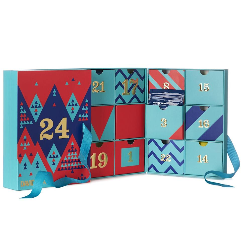 """<p><strong>davidstea.com</strong></p><p><strong>$40</strong></p><p><a class=""""link rapid-noclick-resp"""" href=""""https://go.redirectingat.com?id=74968X1596630&url=https%3A%2F%2Fwww.davidstea.com%2Fus_en%2Ftea%2F24-days-of-tea%2F961025US01VAR0057007.html&sref=https%3A%2F%2Fwww.townandcountrymag.com%2Fstyle%2Ffashion-trends%2Fnews%2Fg2970%2Ffancy-advent-calendars%2F"""" rel=""""nofollow noopener"""" target=""""_blank"""" data-ylk=""""slk:SHOP NOW"""">SHOP NOW</a></p><p>Let's face it, for real tea fans, one cup a day just isn't enough—which is why this Canadian tea emporium give you two bags for each day of their advent calendar with flavors like fan-favorite Cream of Earl Grey as well as seasonal sips like Alpine Punch, Candy Cane Crush, S'mores Chai, and Santa's Secret.</p><p><strong>More:</strong> <a href=""""https://www.townandcountrymag.com/leisure/drinks/g13408658/tea-advent-calendars/"""" rel=""""nofollow noopener"""" target=""""_blank"""" data-ylk=""""slk:The Best Tea Advent Calendars"""" class=""""link rapid-noclick-resp"""">The Best Tea Advent Calendars</a></p>"""