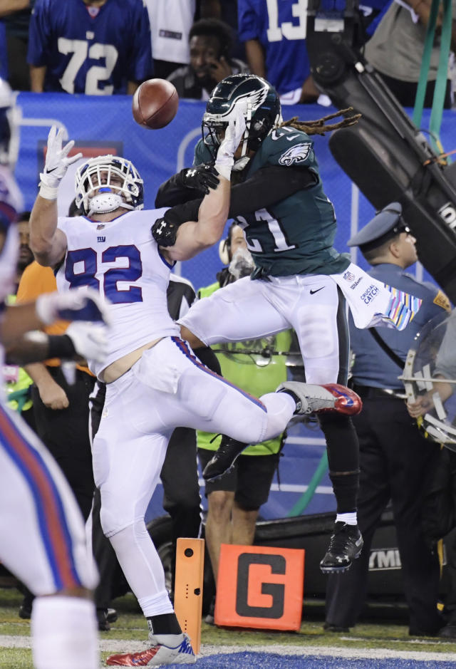 Philadelphia Eagles cornerback Ronald Darby (21) defends against New York Giants tight end Scott Simonson (82) during the first half of an NFL football game Thursday, Oct. 11, 2018, in East Rutherford, N.J. (AP Photo/Bill Kostroun)