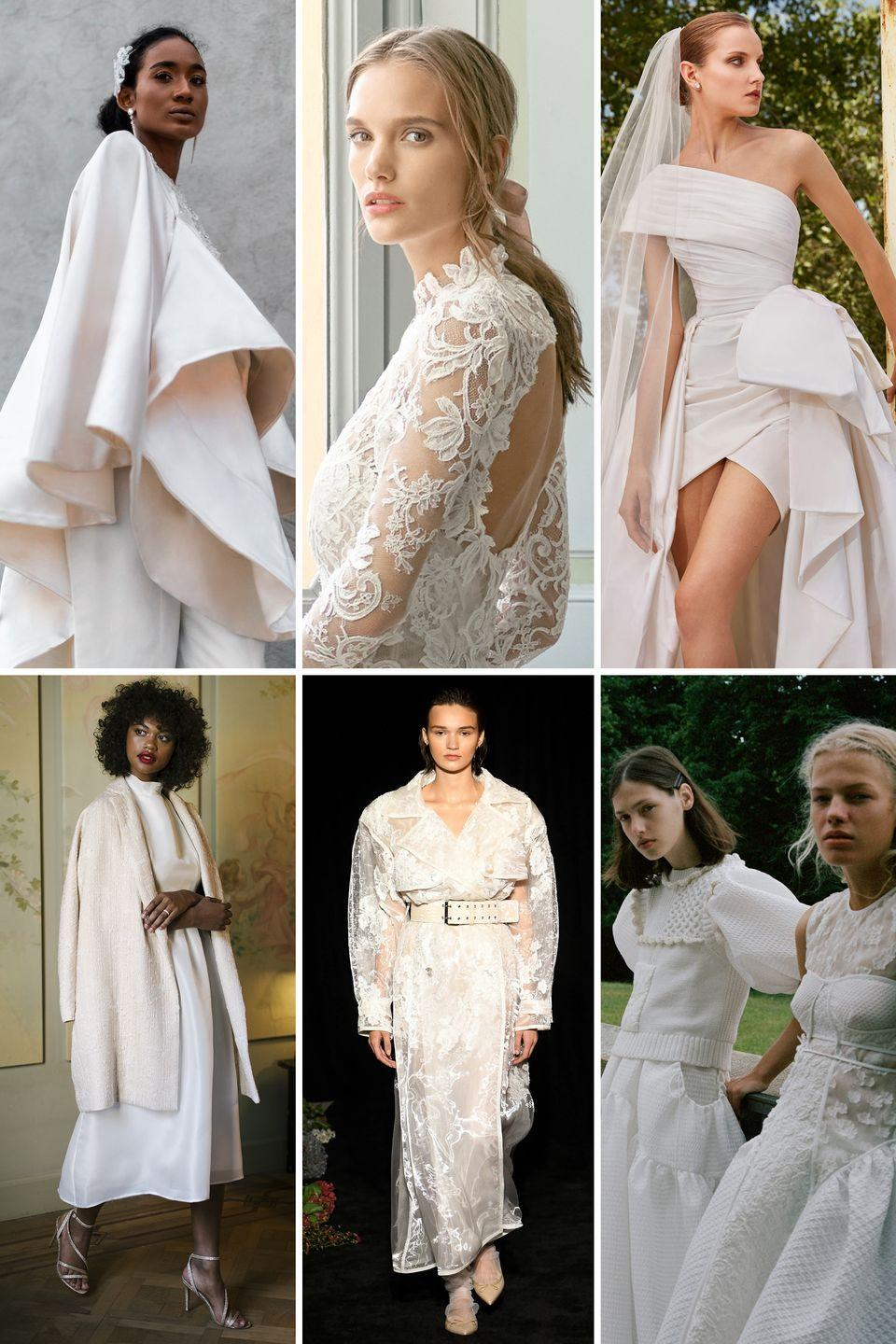 <p>A few seasons back, it was separates that were all the rage; then came statement suiting—but this is all about the layering.</p><p>Wedding wardrobes require versatility and longevity as celebrations continue to change, move, and morph in 2021, and in such uncertain times, your fashion choices are one thing you can control. Make them work for you and whatever unique celebration you have in the works by picking pieces that you won't want to wear just once. From sculptural capes to knitwear add-ons, lace-appliquéd trenches, and toppers, these bridal accents are responsible for the return of the convertible dress—in ways we've not seen before. </p><p><em>Clockwise from left: Andre Iyamah Bridal Fall 2020; Monique Lhuillier Bridal Fall 2020; Elie Saab Bridal Spring 2021; Valentin Avoh Bridal Fall 2020; Danielle Frankel Bridal Fall 2020; Cecilie Bahnsen Spring 2021. </em></p>