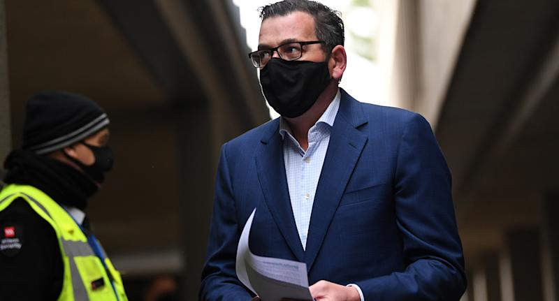 Victorian Premier Daniel Andrews arrives to a press conference in Melbourne, Tuesday, August 4, 2020.