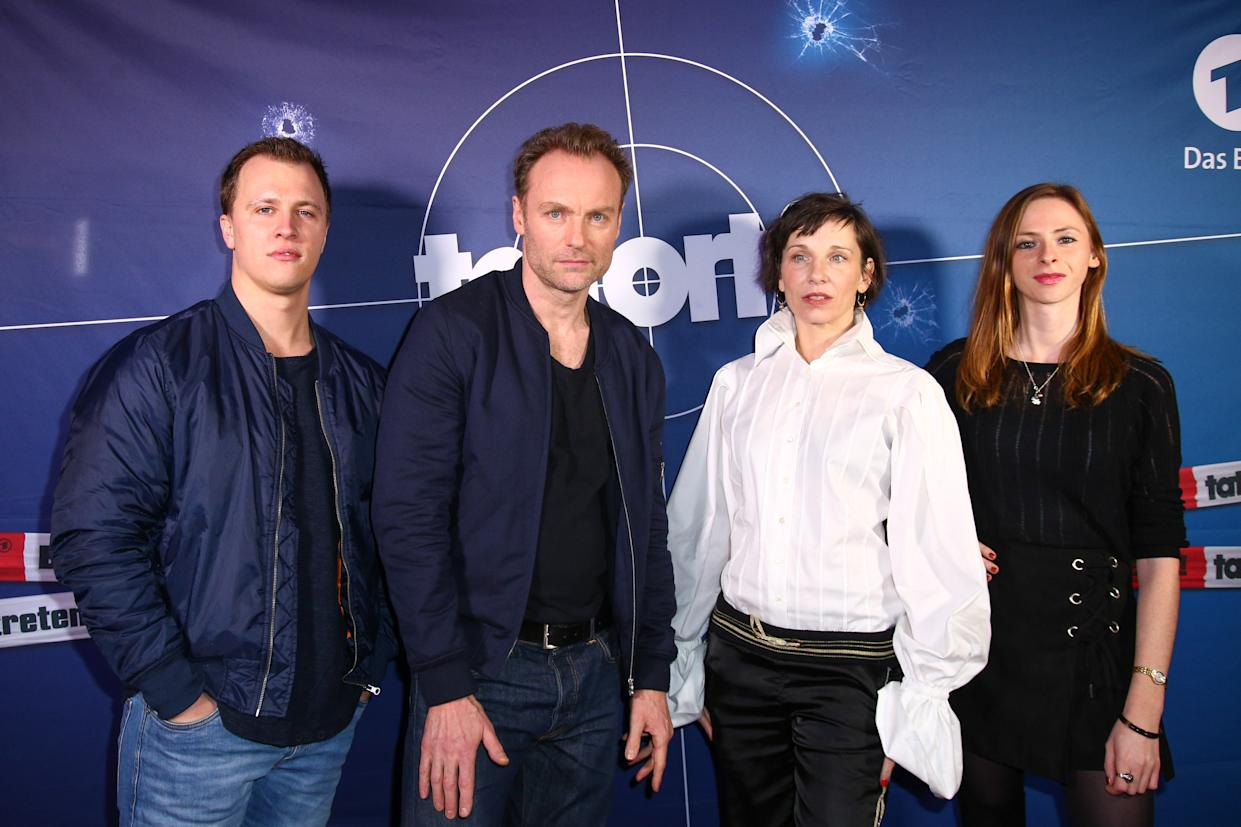 BERLIN, GERMANY - JANUARY 24: (L-R) Tim Kalkhof, Mark Waschke, Meret Becker and Carolyn Genzkow, main cast of the Berliner Tatort 'Meta', attend the 'Tatort: Meta' premiere photo call at Delphi Filmpalast on January 24, 2018 in Berlin, Germany. (Photo by Christian Marquardt/Getty Images)
