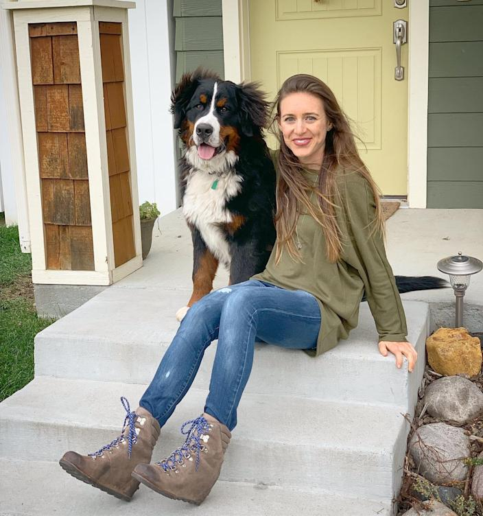 Paired with jeans, Sorel wedges and a Bernese Mountain Dog puppy (Katie Jackson)