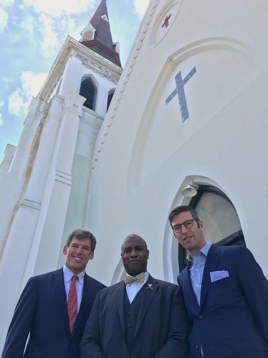 Rev. Eric SC Manning (center) and Michael Arad (right) said Saturday the design process was in its beginning stages. (Handel Architects)