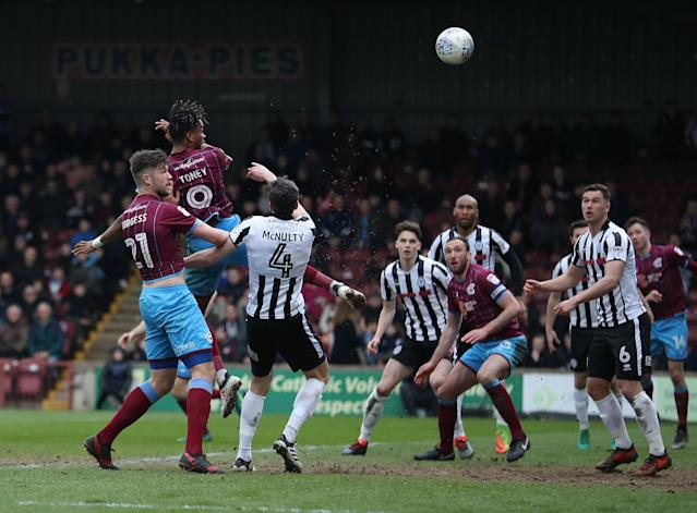 "Soccer Football - League One - Scunthorpe United vs Rochdale - Glanford Park, Scunthorpe, Britain - March 24, 2018 Scunthorpe United's Ivan Toney scores their first goal Action Images/John Clifton EDITORIAL USE ONLY. No use with unauthorized audio, video, data, fixture lists, club/league logos or ""live"" services. Online in-match use limited to 75 images, no video emulation. No use in betting, games or single club/league/player publications. Please contact your account representative for further details."
