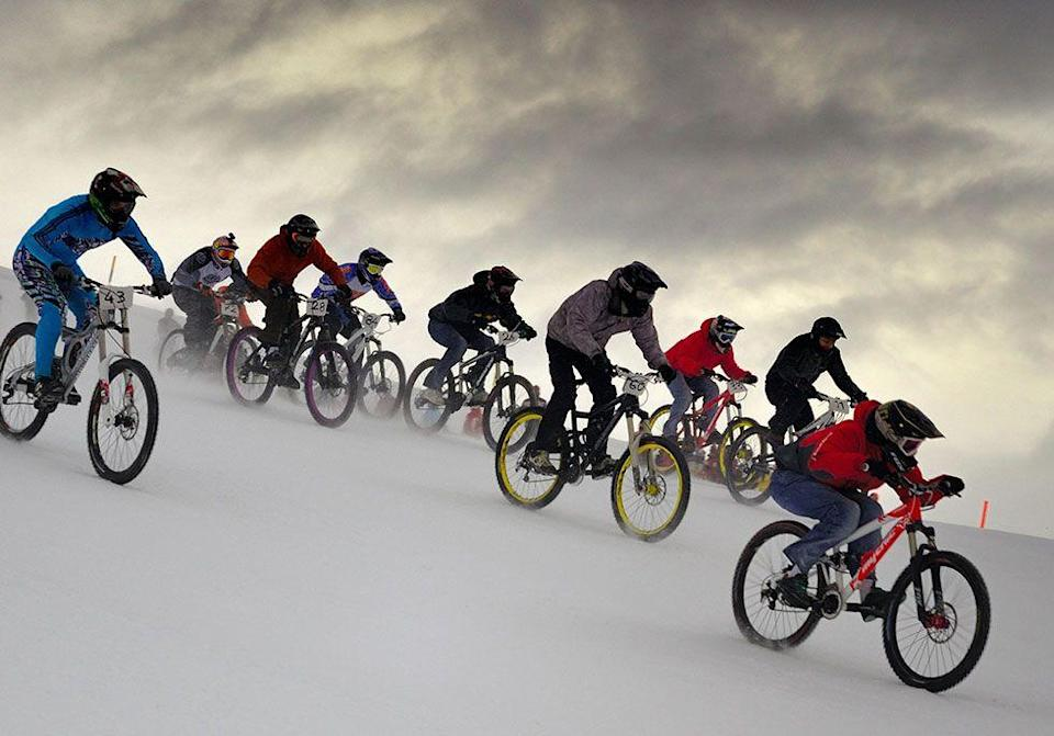 <p>Switzerland's Villars-sur-Ollon holds an annual New Year's Eve bike race that begins at the top of Roc d'Orsay. The event draws cyclists from all around and prize money is awarded to those who make it down the mountain the fastest.</p>