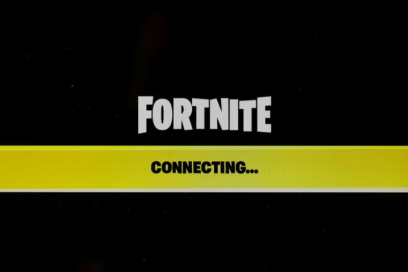 """FILE PHOTO: The popular video game """"Fortnite"""" by Epic Games is pictured on a screen"""