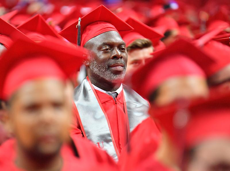 LAS VEGAS, NV - MAY 12: Head coach Anthony Lynn of the Los Angeles Chargers looks on during the 2018 spring commencement ceremony at UNLV at the Thomas & Mack Center on May 12, 2018 in Las Vegas, Nevada. Lynn received his bachelor's degree in interdisciplinary studies after leaving Texas Tech in 1988 to pursue a career in the NFL. (Photo by Sam Wasson/Getty Images)