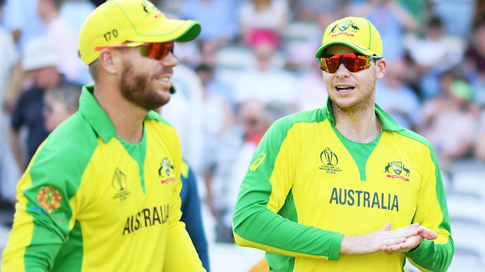 David Warner and Steve Smith, pictured here in action for Australia in 2019.
