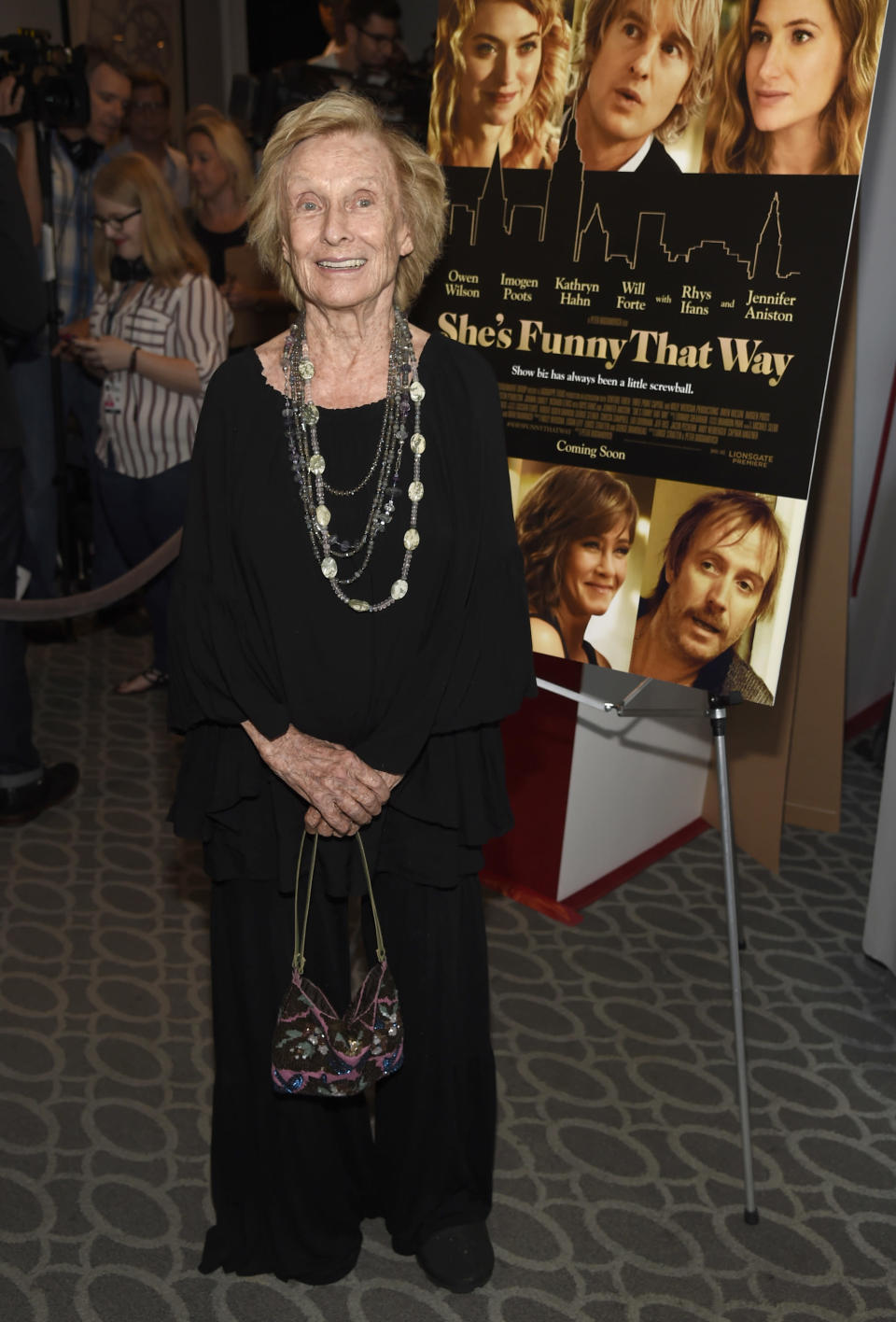 "FILE - Cloris Leachman arrives at the Los Angeles premiere of ""She's Funny That Way"" on Aug. 19, 2015. Leachman, a character actor whose depth of talent brought her an Oscar for the ""The Last Picture Show"" and Emmys for her comedic work in ""The Mary Tyler Moore Show"" and other TV series, has died. She was 94. (Photo by Chris Pizzello/Invision/AP, File)"
