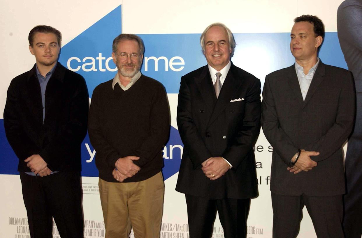 Young adults are most likely to fall for a scam. Frank Abagnale, a former con man pictured above (second to the left) with Leonardo Di Caprio, Steven Spielberg and Tom Hanks, says there are two big signs of a scam you should know. (Photo: Dave Benett via Getty Images)