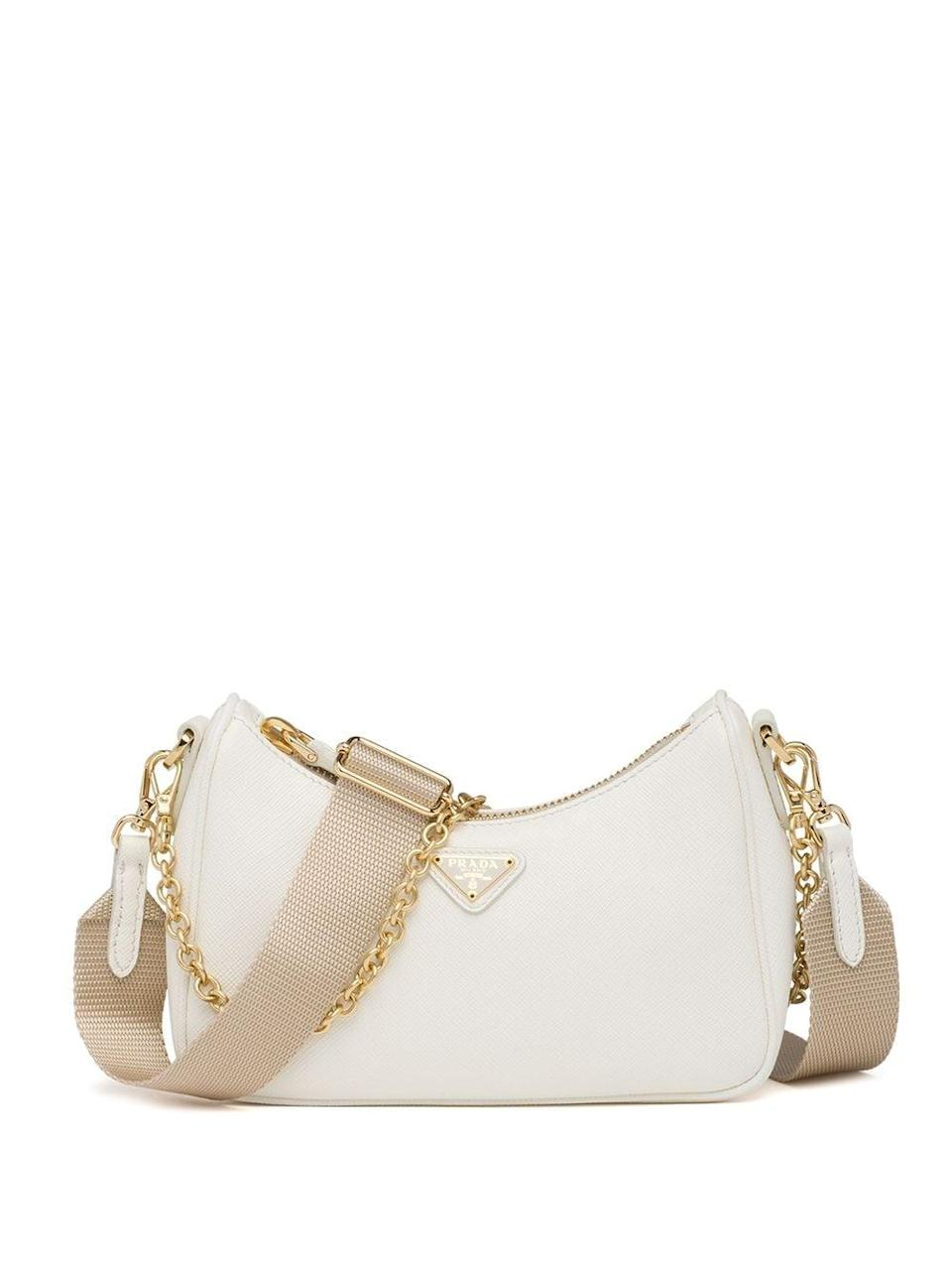 <p>The <span>Prada Saffiano Leather Mini Bag</span> ($1,490) is a clear winner. We love the white and tan mixed with gold hardware, and you can take off the tan nylon strap, making it a dainty shoulder bag.</p>
