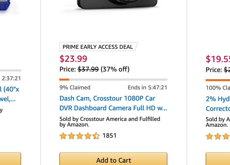 Amazon uses two techniques here: the bar that shows that the deals are limited, and a clock that even includes seconds. (Screenshot via Yahoo Finance)
