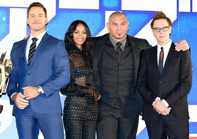 <p><em><em>The stars of the hit Marvel franchise are back for <em>Guardians of the Galaxy Vol. 2.</em> Pratt, Saldana, Dave Bautista, and director James Gunn attend the Tokyo premiere on April 10, 2017. (Photo: Jun Sato/WireImage ) </em></em></p>
