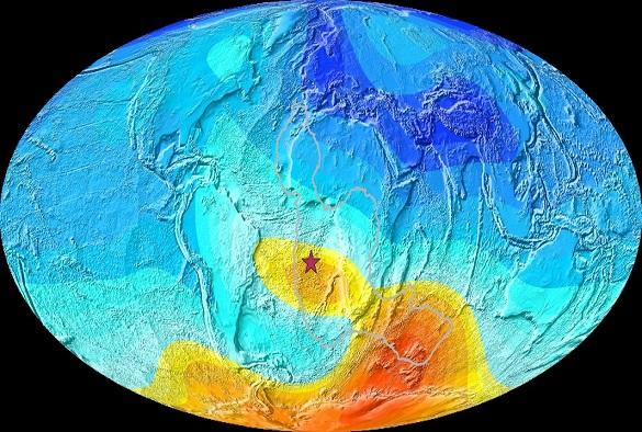 """The South Atlantic anomaly is a """"weak spot"""" in Earth's magnetic field (Liverpool)"""