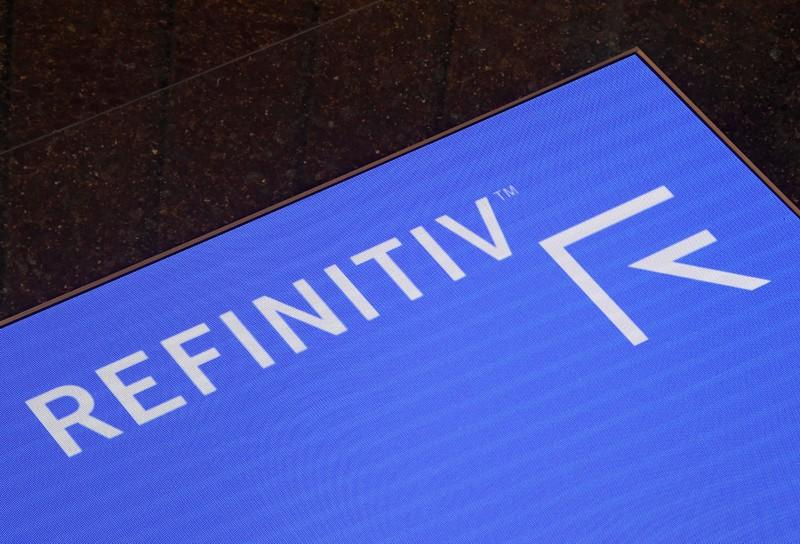 The Refinitiv logo is seen on a screen in offices in Canary Wharf in London