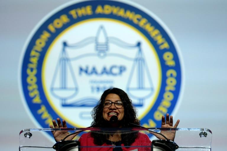 Democratic US congresswoman Rashida Tlaib, addressing the NAACP's national convention in Detroit, Michigan on July 22, 2019, said she was 'going nowhere' despite angry verbal attacks against her and other Democrats by President Donald Trump (AFP Photo/JEFF KOWALSKY)