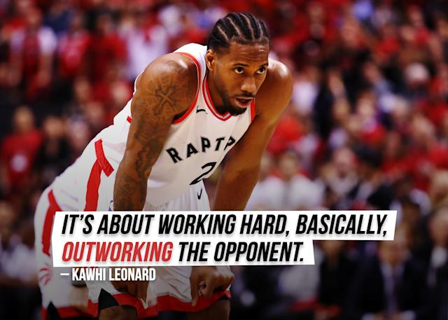 """Toronto Raptors' Kawhi Leonard explains his old high school and college catch phrase """"<a href=""""https://ca.sports.yahoo.com/raptors-kawhi-leonard-board-man-explanation-050327500.html"""" data-ylk=""""slk:Board man gets paid;outcm:mb_qualified_link;_E:mb_qualified_link;ct:story;g:undefined;"""" class=""""link rapid-noclick-resp yahoo-link"""">Board man gets paid</a>."""""""