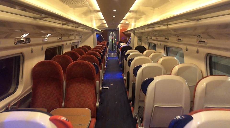 The inside of the carriage as the Virgin train completed its last journey: The Independent