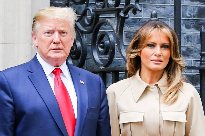 LONDON, UK, UNITED KINGDOM - 2019/06/04: US President Donald Trump and First Lady Melania Trump on the steps of No 10 Downing Street during the second day of their State Visit to the UK. (Photo by Dinendra Haria/SOPA Images/LightRocket via Getty Images)
