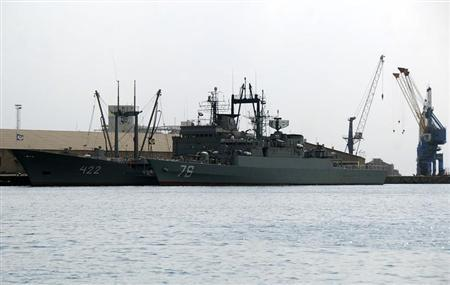 Two Iranian navy warships are seen docked at Port Sudan in the Red Sea state