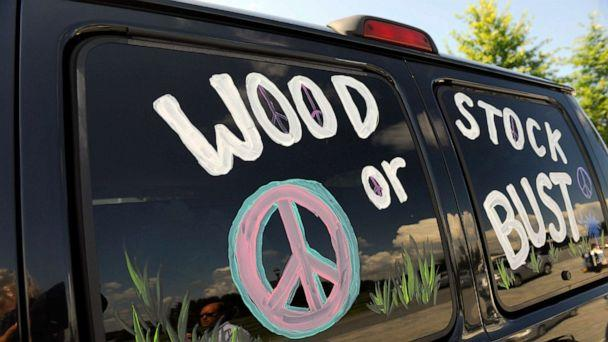 PHOTO: A van decorated with 'Woodstock or Bust' at the original Woodstock Festival site in Bethel, N.Y., Aug. 14, 2009. (Stephen Chernin/AP, FILE)