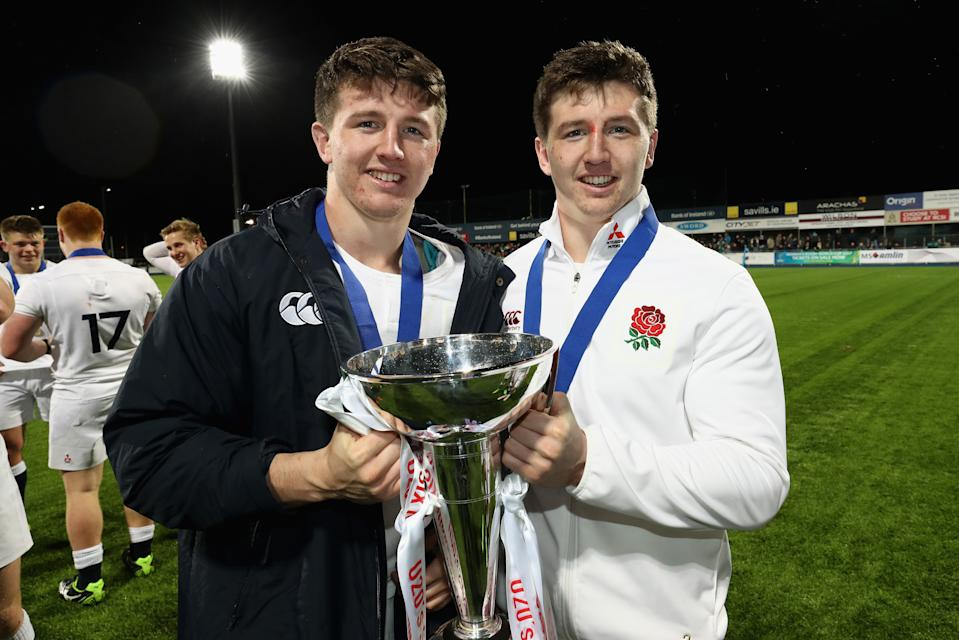 DUBLIN, IRELAND - MARCH 17:   Tom Curry and Ben Curry of England celebrate after their victory during the under 20 Six Nations Rugby Championship match between Ireland and England at Donnybrook Stadium on March 17, 2017 in Dublin, Ireland.  (Photo by David Rogers - RFU/The RFU Collection via Getty Imagesges)