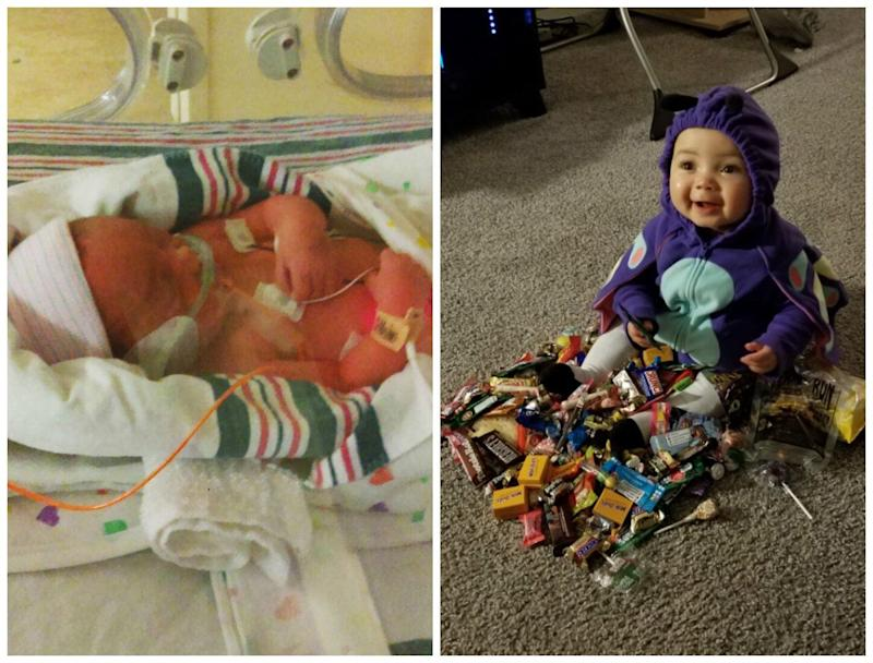 My daughter, Aliyah, was born at 31 weeks and six days. My due date was Jan. 13, and she was born Nov. 17, weighing less than 5 pounds. She spent about three weeks in the NICU. This week, she'll be 1. If you've seen her, you wouldn't know she was a preemie. She's mommy's big girl.<br /><br /><i>-- Rykeila Campbell</i>