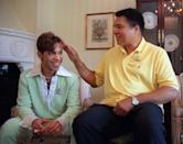<p>Boxing great Muhammad Ali, right, pats the head of the Artist Formerly Known as Prince during a meeting in Washington Tuesday, June 24, 1997 prior to a news conference where they were to announce plans for a benefit concert in October. The World Healing Honors will be a grand benefit concert to promote international harmony and tolerance. (AP Photo/Karin Cooper/Rogers & Cowan)</p>