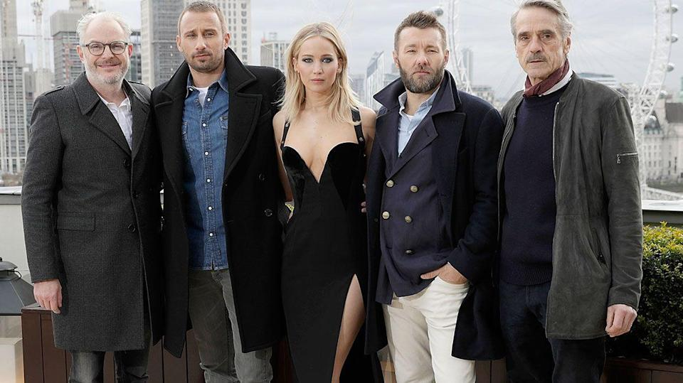 Francis Lawrence, Matthias Schoenaerts, Jennifer Lawrence, Joel Edgerton, and Jeremy Irons (Dave Benett/Getty Images)