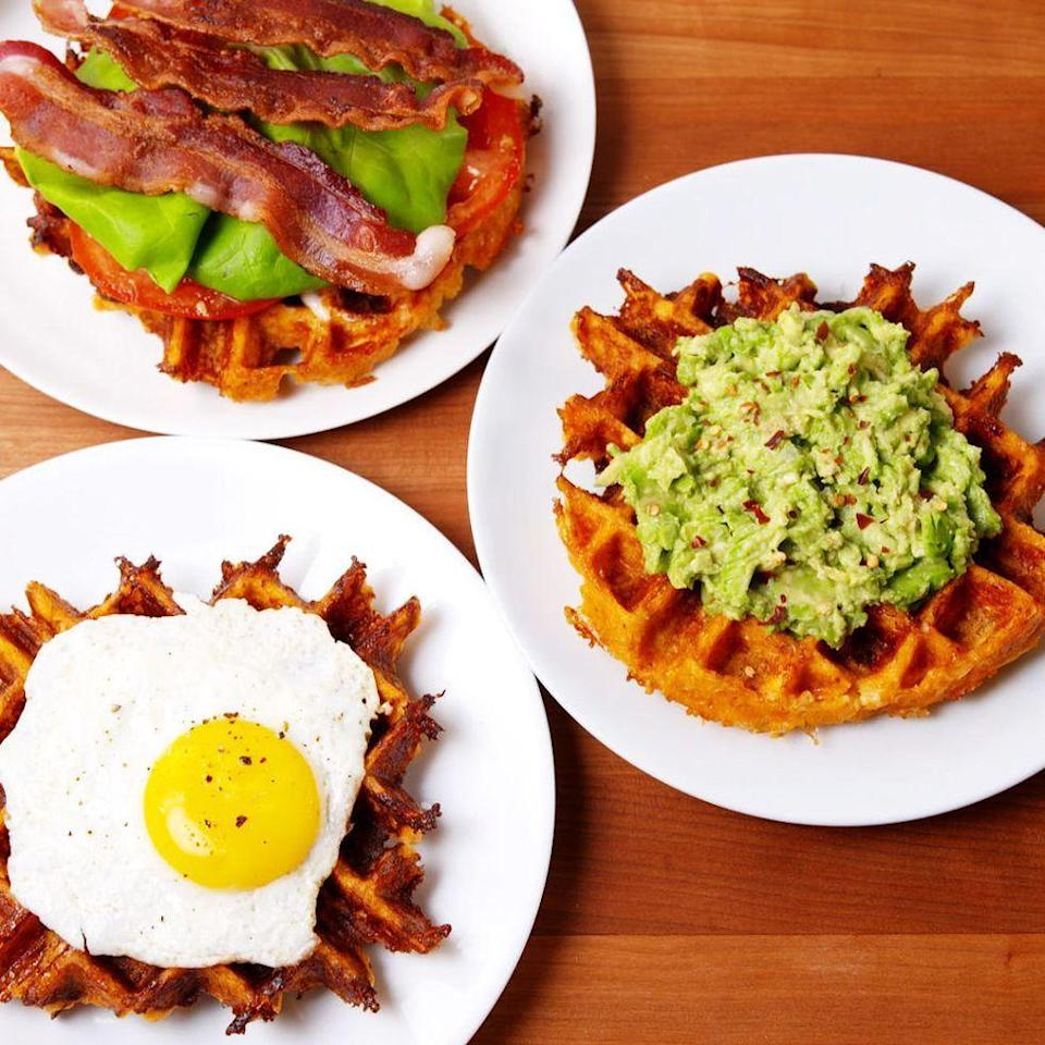 """<p>These low carb waffles will become a weekend staple at your house.</p><p>Get the <a href=""""https://www.delish.com/uk/cooking/recipes/a30312893/cauliflower-waffles-recipe/"""" rel=""""nofollow noopener"""" target=""""_blank"""" data-ylk=""""slk:Cauliflower Waffles"""" class=""""link rapid-noclick-resp"""">Cauliflower Waffles</a> recipe.</p>"""