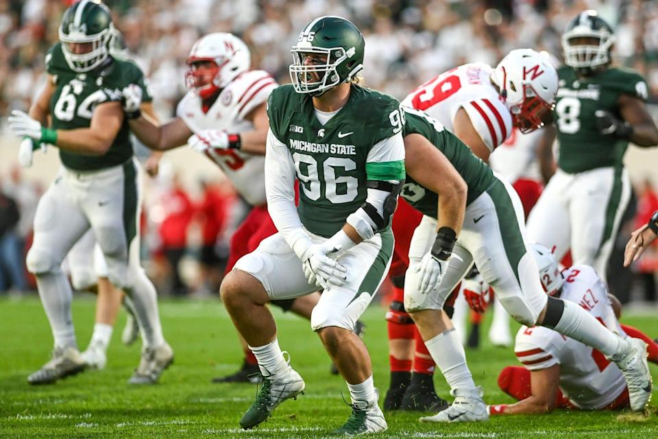 Michigan State's Jacub Panasiuk celebrates his tackle against Nebraska during the first quarter on Saturday, Sept. 25, 2021, at Spartan Stadium in East Lansing.