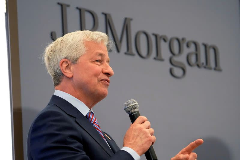 FILE PHOTO: JP Morgan CEO Jamie Dimon delivers a speech during the inauguration the new French headquarters of JP Morgan bank in Paris