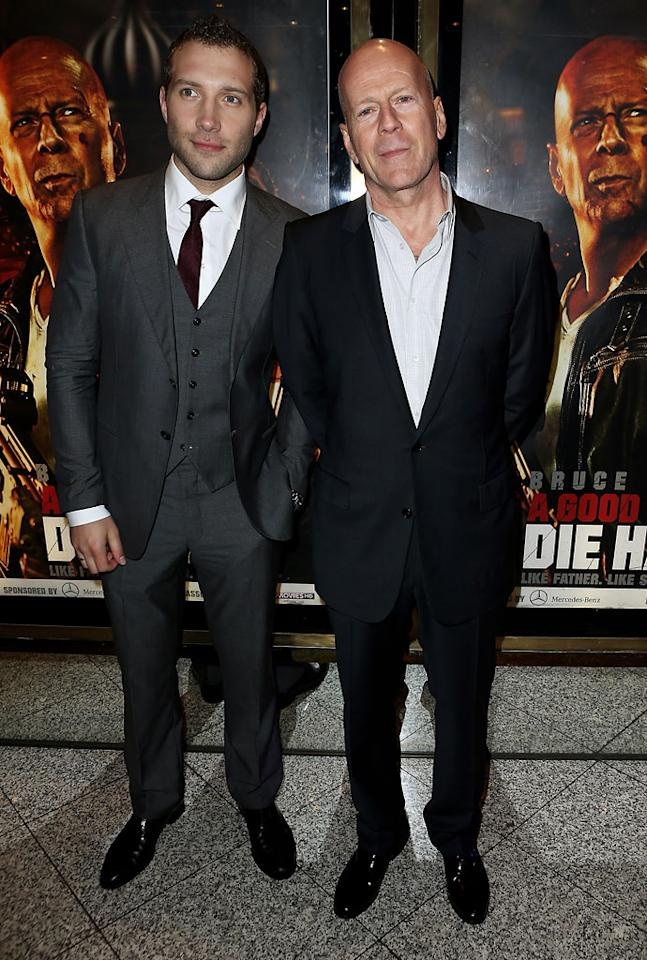 Jai Courtney (L) and Bruce Willis attend the UK Premiere of 'A Good Day To Die Hard' at Empire Leicester Square on February 7, 2013 in London, England.  (Photo by Dave M. Benett/WireImage)