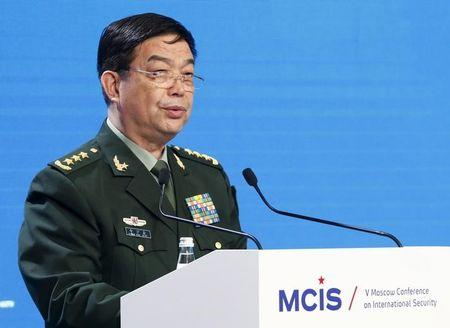 Chinese Defence Minister Chang Wanquan delivers speech as he attends 5th Moscow Conference on International Security in Moscow