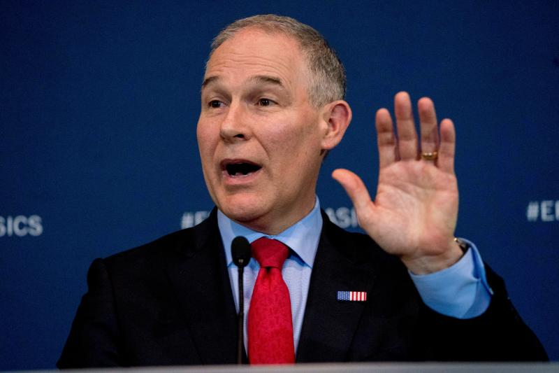 FILE - In this April 3, 2018, file photo, Environmental Protection Agency Administrator Scott Pruitt speaks at a news conference in Washington. An internal government watchdog says the EPA violated federal spending laws when purchasing a $43,000 soundproof privacy booth for Pruitt to make private phone calls in his office.  (AP Photo/Andrew Harnik)