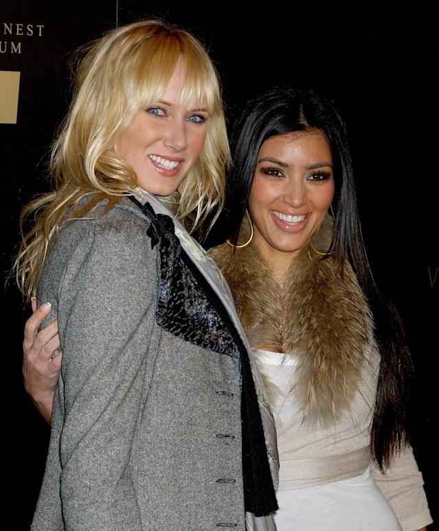 Kimberly Stewart, one of the day's celebutantes, posed with Kim Kardashian. (Photo: Gregg DeGuire/WireImage)