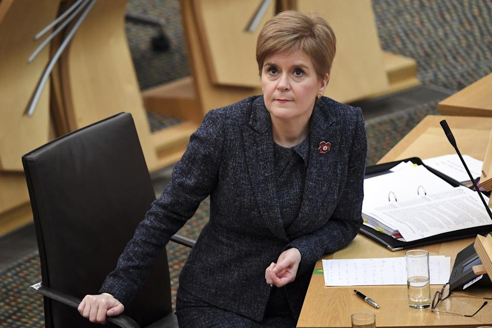Nicola Sturgeon during the First Minister's Questions session at the Scottish Parliament in Holyrood, Edinburgh.