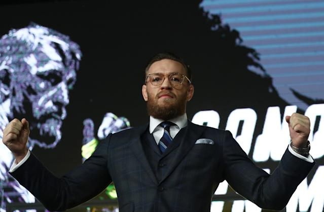 Conor McGregor poses during a news conference in Moscow, Russia, October 24, 2019. (Reuters/Evgenia Novozhenina)