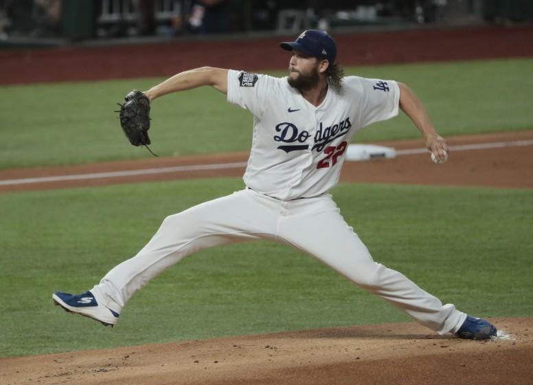 Arlington, Texas, Tuesday, October 20, 2020 Los Angeles Dodgers starting pitcher Clayton Kershaw.