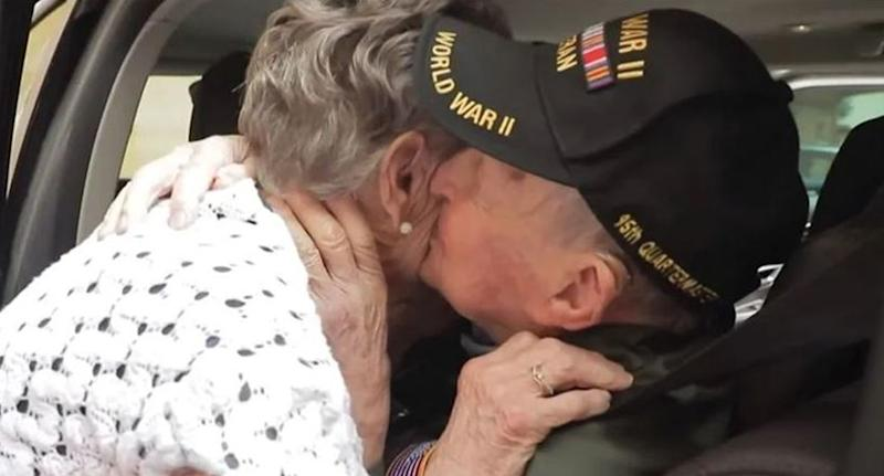 American WWII veteran KT Robbins and French Jeannine Ganaye share a kiss during a heartwarming reunion 75 years after leaving for D-Day.