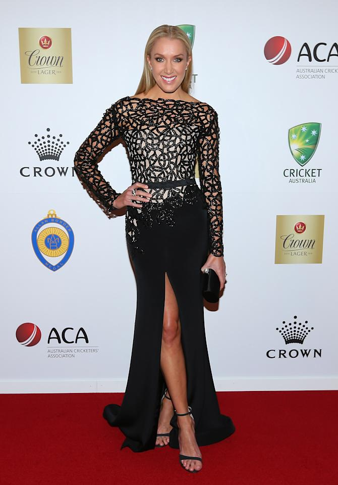 MELBOURNE, AUSTRALIA - FEBRUARY 04:  Rianna Ponting the wife of Ricky Ponting of Australia arrives at the 2013 Allan Border Medal awards ceremony at Crown Palladium on February 4, 2013 in Melbourne, Australia.  (Photo by Quinn Rooney/Getty Images)