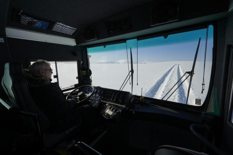 The glacier bus was created by Astvaldur Oskarsson, 59 (pictured)