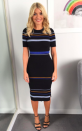 """<p>Nobody does stripes quite like Holly so take inspiration from the television presenter and invest in her ribbed <a rel=""""nofollow noopener"""" href=""""https://www.sosandar.com/black-striped-ribbed-jumper-dress/"""" target=""""_blank"""" data-ylk=""""slk:dress"""" class=""""link rapid-noclick-resp"""">dress</a> by Sosandar. </p>"""