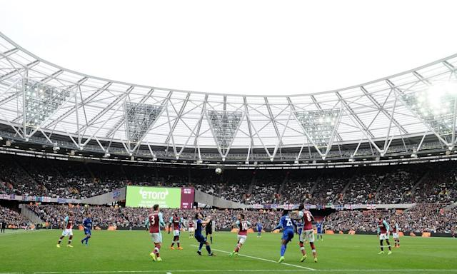 """<span class=""""element-image__caption"""">The London Stadium, home of West Ham, has a capacity of 60,000 and was built for the 2012 Olympic Games.</span> <span class=""""element-image__credit"""">Photograph: Plumb Images/Leicester City FC via Getty Imag</span>"""