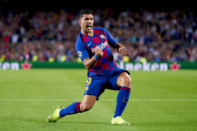 Luis Suarez scored an incredible volley and the game-winner to lift Barcelona past Inter Milan in the Champions League. (Getty)