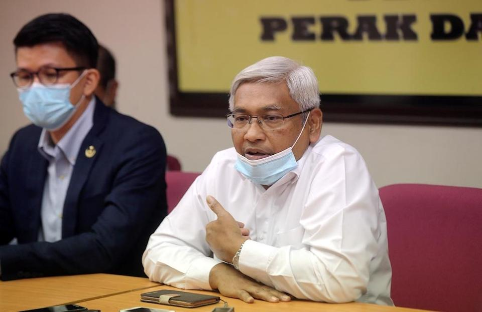 Perak Opposition leader and constitutional law expert Abdul Aziz Bari speaks to the press at the State Secretariat Building in Ipoh October 26, 2020. — Picture by Farhan Najib